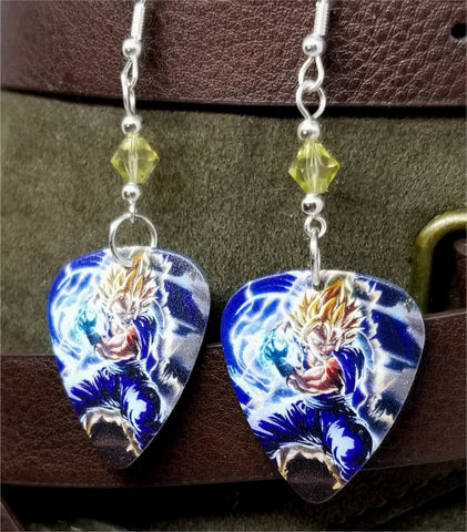 Dragon Ball Z Goku Guitar Pick Earrings with Pale Yellow Swarovski Crystals