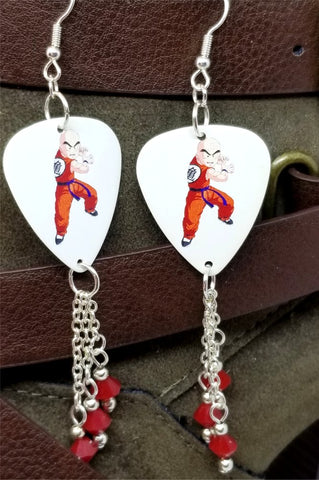 Dragon Ball Z Krillin Guitar Pick Earrings with Red Swarovski Crystal Dangles