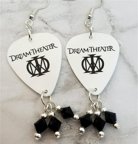 Dream Theater Guitar Pick Earrings with Black Swarovski Crystal Dangles