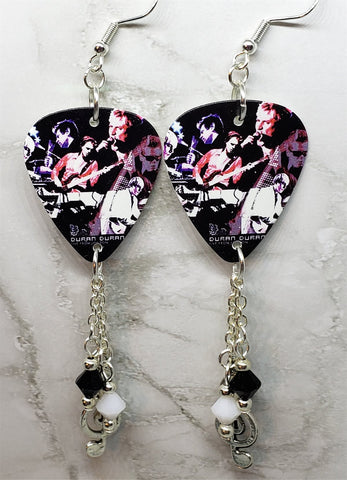 Duran Duran Live from London Guitar Pick Earrings with Metal Charm and Swarovski Crystal Dangles