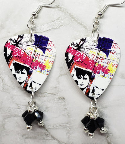 Duran Duran Medazzaland Guitar Pick Earrings with Swarovski Crystal Dangles