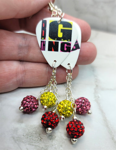 Duran Duran Big Thing Guitar Pick Earrings with Pave Bead Dangles