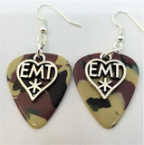 EMT Heart Charm Guitar Pick Earrings - Pick Your Color