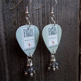 Eagles Hell Freezes Over Guitar Pick Earrings with Gray Swarovski Crystal Dangles