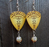 Eagles Farewell Tour Guitar Pick Earrings with Tan Ombre Pave Bead