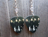 Eagles Guitar Pick Earrings with Clear Swarovski Crystals