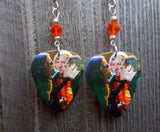 Eagles Live on Stage Guitar Pick Earrings with Orange Crystals