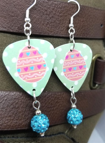 Pink Easter Egg Guitar Pick Earrings with Aqua Blue Pave Bead Dangles