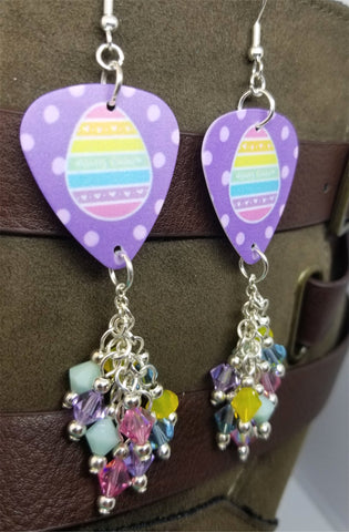 Colorful Striped Easter Egg Guitar Pick Earrings with Cascading Swarovski Crystal Dangles