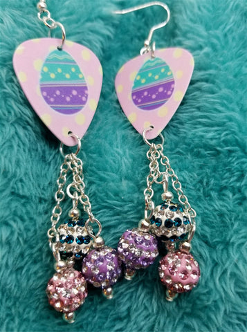 Teal and Purple Easter Egg Guitar Pick Earrings with Pave Bead Dangles