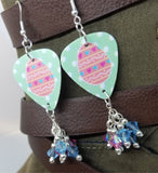 Pink Easter Egg Guitar Pick Earrings with Swarovski Crystal Dangles