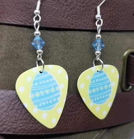 Blue Easter Egg Guitar Pick Earrings with Aquamarine Swarovski Crystals
