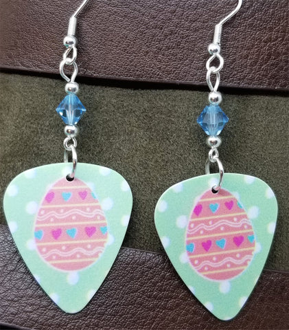 Pink Easter Egg Guitar Pick Earrings with Aquamarine Swarovski Crystals