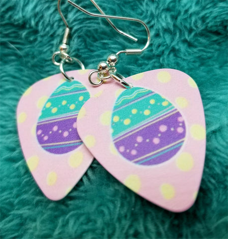 Teal and Purple Easter Egg Guitar Pick Earrings