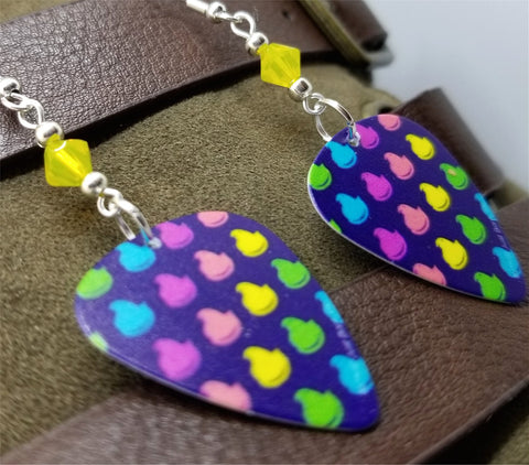 Colored Peeps Guitar Pick Earrings with Yellow Opal Swarovski Crystals
