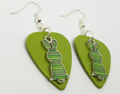 Green Striped Bunny Charms Guitar Pick Earrings - Pick Your Color