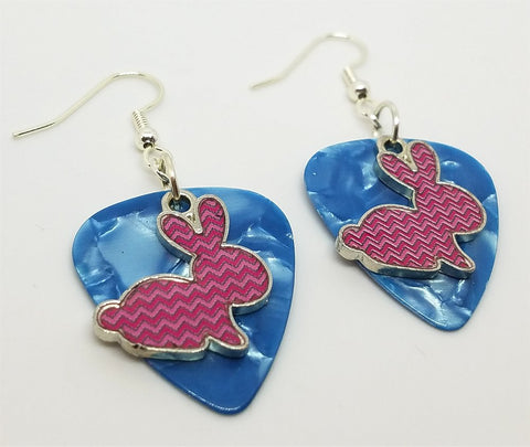 Pink Chevron Bunny Charm Guitar Pick Earrings - Pick Your Color