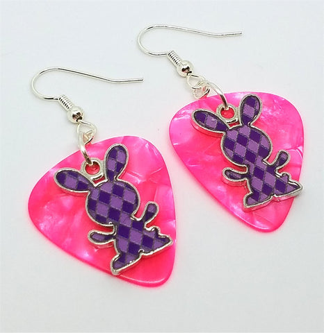 Purple Argyle Bunny Charms Guitar Pick Earrings - Pick Your Color