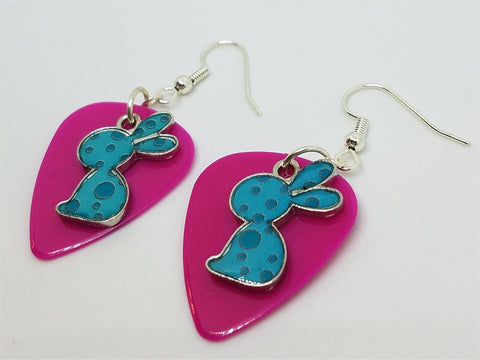 Teal Polka Dot Bunny Charm Guitar Pick Earrings - Pick Your Color