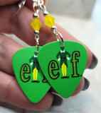 Elf Movie Guitar Pick Earrings with Yellow Opal Swarovski Crystals