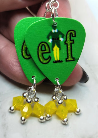 Elf Movie Guitar Pick Earrings with Yellow Opal Swarovski Crystal Dangles