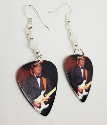 Eric Clapton Guitar on Stage Pick Earrings with White Swarovski Crystals