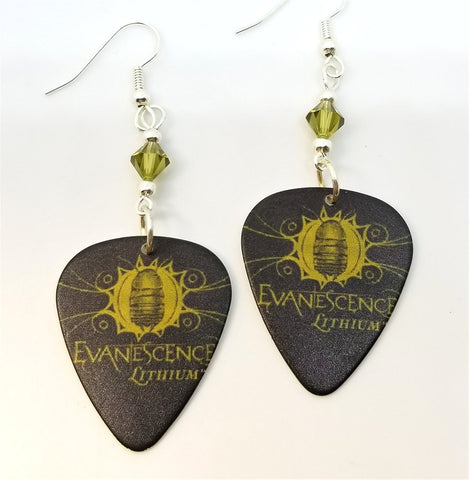 Evanescence Lithium Guitar Pick Earrings with Green Swarovski Crystals