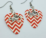 Fire Department Crossed Axes with Helmet Guitar Pick Earrings - Pick Your Color