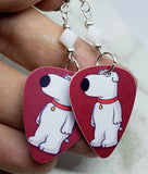 Family Guy Brian Griffin Guitar Pick Earrings with White Swarovski Crystals
