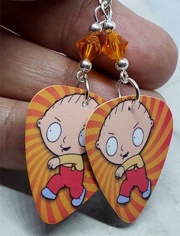 Family Guy Stewie Griffin Guitar Pick Earrings with Orange Swarovski Crystals