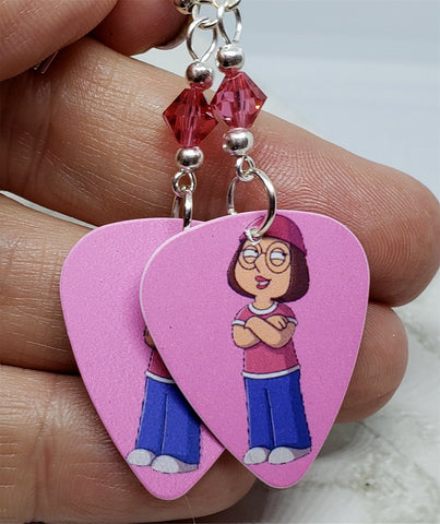 Family Guy Meg Griffin Guitar Pick Earrings with Pink Swarovski Crystals