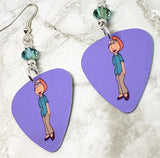 Family Guy Lois Griffin Guitar Pick Earrings with Green Swarovski Crystals