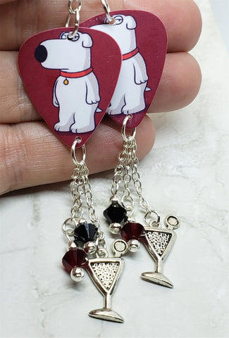 Family Guy Brian Griffin Guitar Pick Earrings with Martini Charm and Swarovski Crystal Dangles