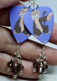 Family Guy Evil Monkey Guitar Pick Earrings with Brown Swarovski Crystal Dangles