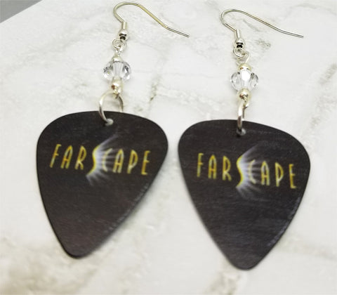 Farscape Guitar Pick Earrings with Clear Swarovski Crystals