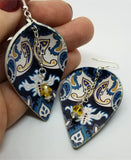 Black with Blue Paisley Pattern FAUX Leather Teardrop Earrings with Yellow Swarovski Crystal Dangles