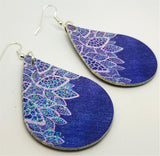 Denim, Lace, and Sparkle FAUX Leather Teardrop Earrings