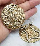 Gold Glitter Very Sparkly Double Sided FAUX Leather Circle Earrings with Large Texas Charm Overlays