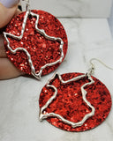 Red Glitter Very Sparkly Double Sided FAUX Leather Circle Earrings with Large Texas Charm Overlays