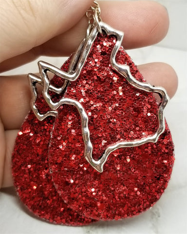 Red Glitter Very Sparkly Double Sided FAUX Leather Teardrop Earrings with Large Texas Charm Overlays