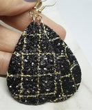 Black Glitter with Gold Outline Brick Pattern Very Sparkly Double Sided FAUX Leather Teardrop Earrings