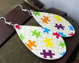 Autism Awareness Puzzle Pieces Tear Drop Shaped FAUX Leather Earrings