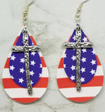 Red and White Striped Faux Leather Earrings and a Blue with White Stars Faux Leather and Silver Metal Cross Charm Overlay