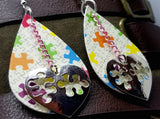 Autism Awareness Puzzle Pieces Tear Drop Shaped FAUX Leather Earrings with Autism Heart Dangle