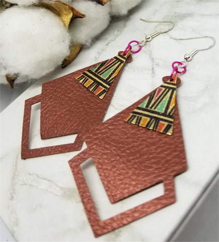 Copper Colored FAUX Leather Diamond Shaped Earrings with Southwestern Geometric Metal Overlay