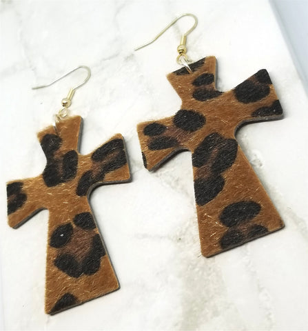Leopard Print Hair on Hide FAUX Leather Cross Earrings