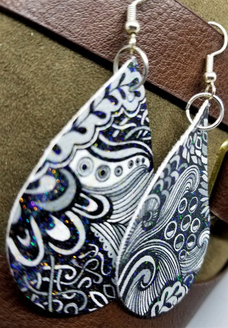 Black and White Paisley Printed FAUX Leather Earrings with A Glitter Topcoat