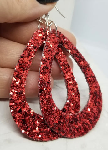 Chunky Red Glitter Very Sparkly Double Sided FAUX Leather Cut Out Teardrop Earrings
