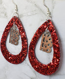 Red Glitter FAUX Leather Cut Out Teardrop Earrings with HoHoHo Charm Dangles
