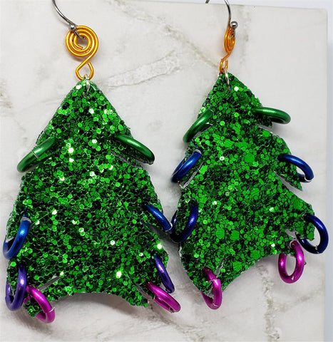 Chunky Green Glitter Double Sided FAUX Leather Hand Cut Christmas Tree Earrings with Colored Rings
